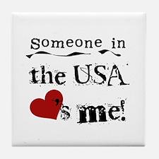 USA Loves Me Tile Coaster