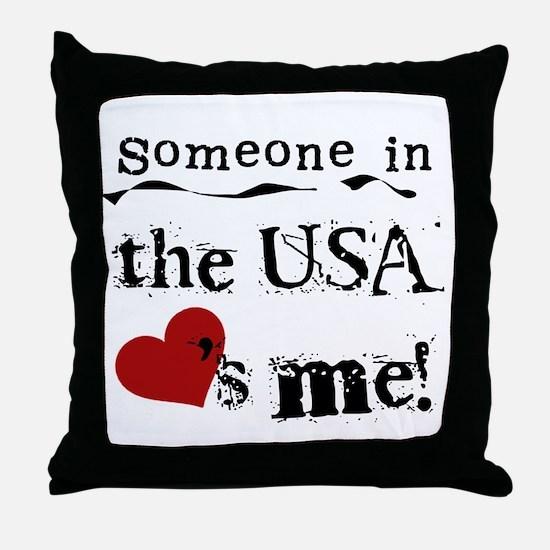USA Loves Me Throw Pillow