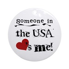 USA Loves Me Ornament (Round)