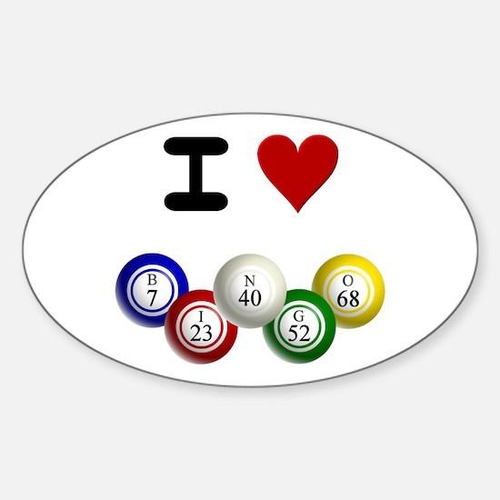 I LUV BINGO Sticker (Oval)