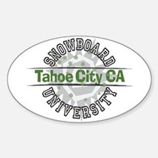 Snowboard Tahoe City CA Oval Decal