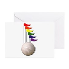Golf Ball & Rainbow Flags Greeting Cards (Package