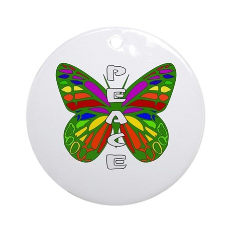 Peace Butterfly Ornament (Round)