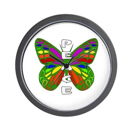 Peace Butterfly Wall Clock