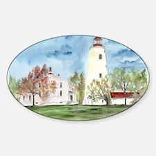 Sandy Hook Lighthouse beach n Oval Decal