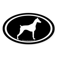 Doberman Dog Oval (white on blk) Oval Decal