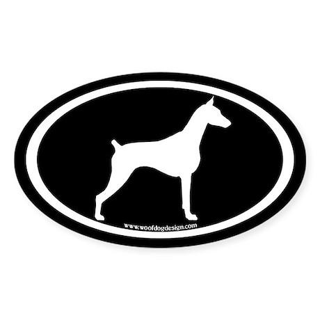 Doberman Dog Oval (white on blk) Oval Sticker