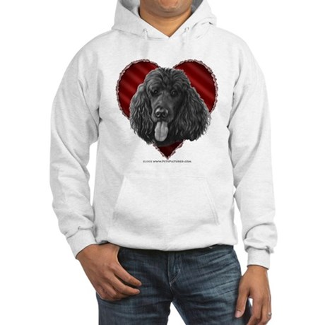 Black Poodle Valentine Hooded Sweatshirt