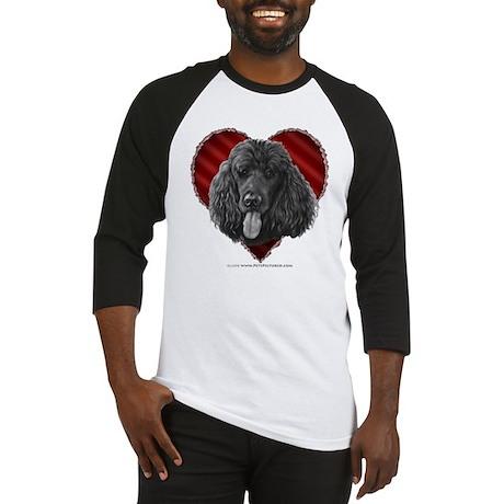 Black Poodle Valentine Baseball Jersey