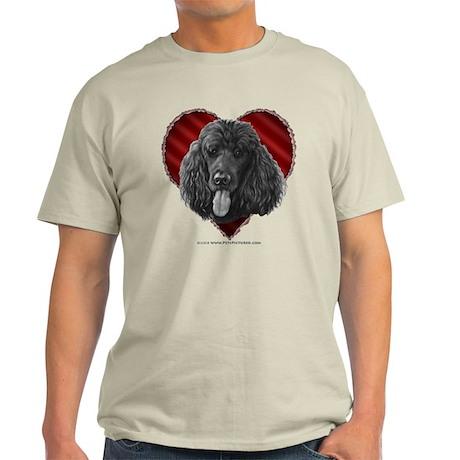 Black Poodle Valentine Light T-Shirt
