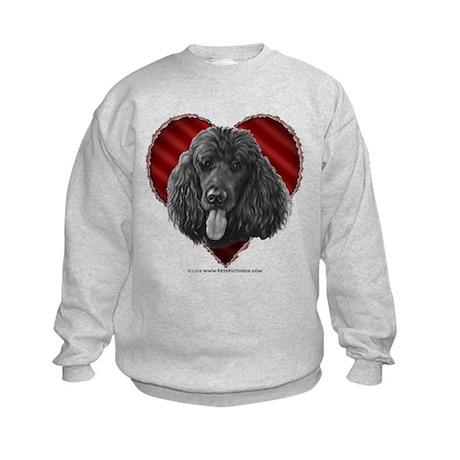 Black Poodle Valentine Kids Sweatshirt
