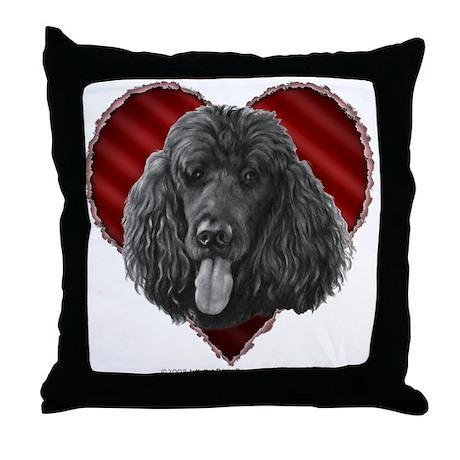 Black Poodle Valentine Throw Pillow