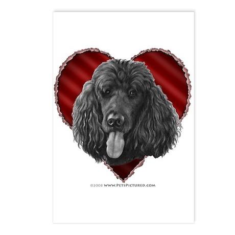 Black Poodle Valentine Postcards (Package of 8)