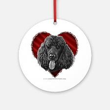 Black Poodle Valentine Ornament (Round)