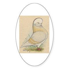 Indigo Tumbler Pigeon Oval Decal