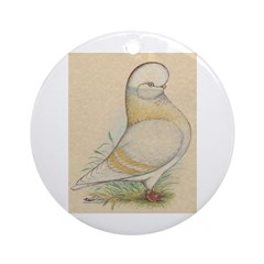 Indigo Tumbler Pigeon Ornament (Round)
