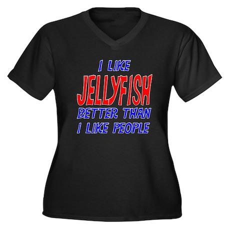 I Like Jellyfish Women's Plus Size V-Neck Dark T-S