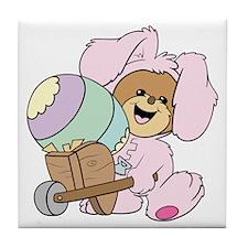 Easter Bunny Teddy Bear Tile Coaster