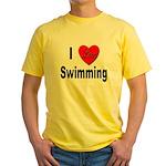 I Love Swimming Yellow T-Shirt