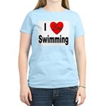 I Love Swimming (Front) Women's Pink T-Shirt