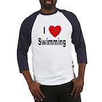 I Love Swimming (Front) Baseball Jersey