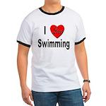 I Love Swimming Ringer T