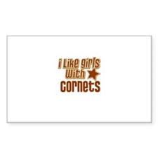 I Like Girls with Cornets Rectangle Decal