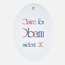 Claire for Obama 2008 Oval Ornament