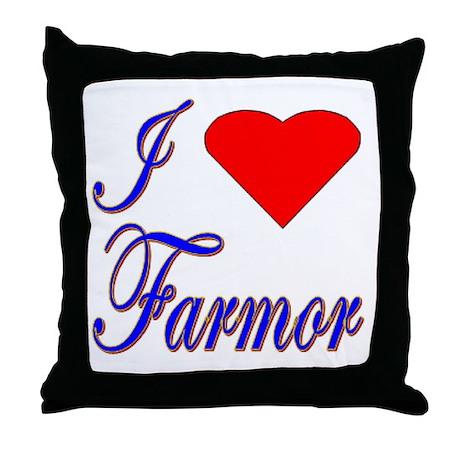 I Love Farmor Throw Pillow
