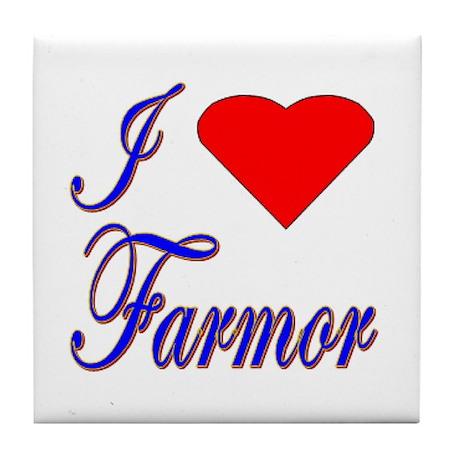 I Love Farmor Tile Coaster