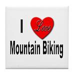 I Love Mountain Biking Tile Coaster
