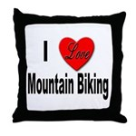 I Love Mountain Biking Throw Pillow