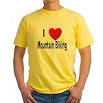 I Love Mountain Biking Yellow T-Shirt