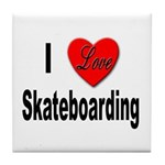 I Love Skateboarding Tile Coaster