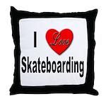 I Love Skateboarding Throw Pillow
