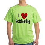 I Love Skateboarding Green T-Shirt