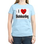 I Love Skateboarding Women's Pink T-Shirt