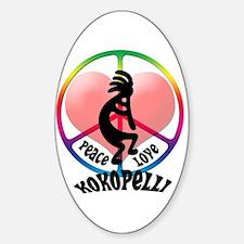 Peace Love Kokopelli Oval Decal