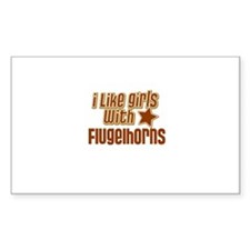 I Like Girls with Flugelhorns Sticker (Rectangular