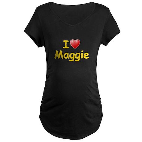 I Love Maggie (L) Maternity Dark T-Shirt