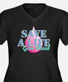 Save a Life GB Women's Plus Size V-Neck Dark T-Shi