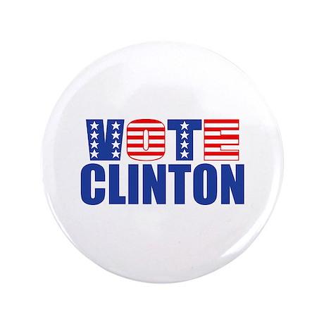 """Vote Clinton (Stars & Stripes) 3.5"""" Button"""