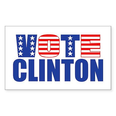 Vote Clinton (Stars & Stripes) Sticker (Rectangula
