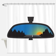 Mountain Sunset In Chunky Rear View Shower Curtain