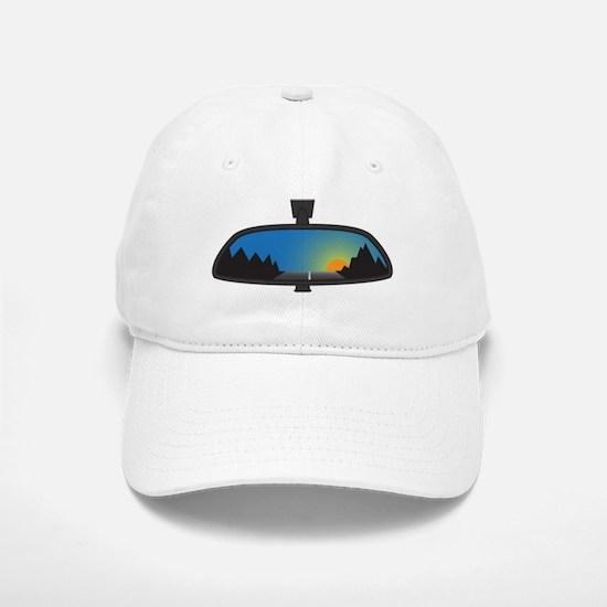 Mountain Sunset In Chunky Rear View Mirror Baseball Baseball Cap