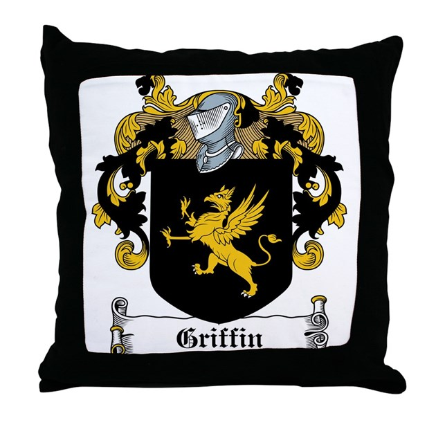 Griffin Family Crest Throw Pillow By Familycoats