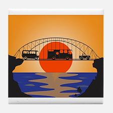 Holiday Vehicles Metal bridge Tile Coaster