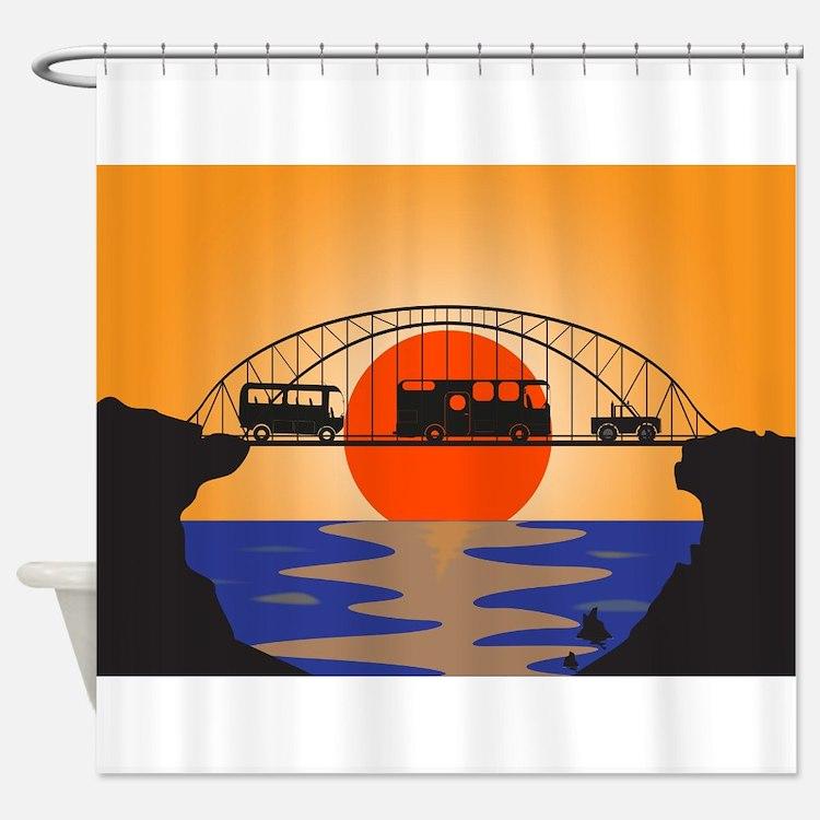 Holiday Vehicles Metal bridge Shower Curtain