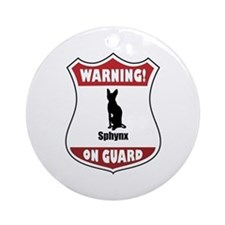 Sphynx On Guard Ornament (Round)