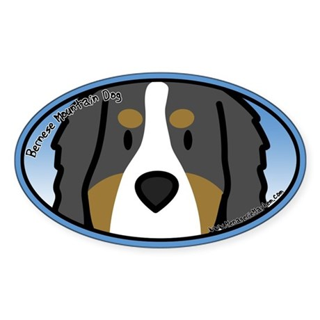 Anime Bernese Mountain Dog Oval Sticker